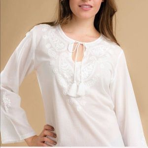 Handmade Embroidered Cotton Top in White